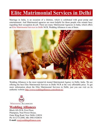Elite Matrimonial Services in Delhi