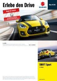 SWIFT Sport Preise, Ausstattung und technische Daten