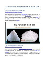 Talc Powder Manufacturer in India EMC