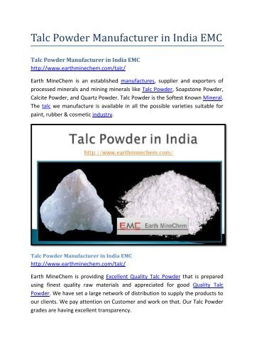 Talc Powder Manufacturer in India EMC