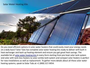Best Solar Water Heating Kits