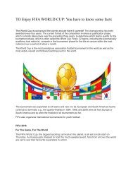 TO Enjoy FIFA WORLD CUP You have to know some facts