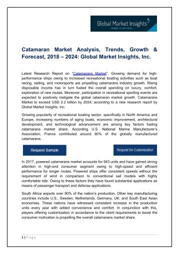 Catamarans Market By Application, Growth Potential & Forecast, 2018 – 2024