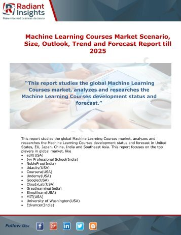 Machine Learning Courses Market  Growth and Forecast Analysis Report till 2025