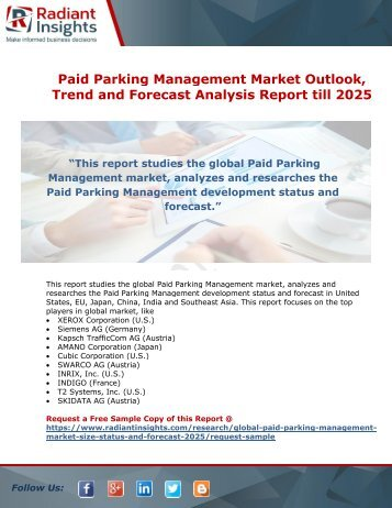 Paid Parking Management Market Scenario and Future Growth Analysis till 2025