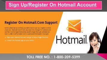 Sign Up in Hotmail Account, Dial 1-800-209-5399