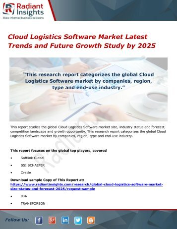 Cloud Logistics Software Market Latest Trends and Future Growth Study by 2025