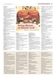 Heilige Messen im Sommer 2018