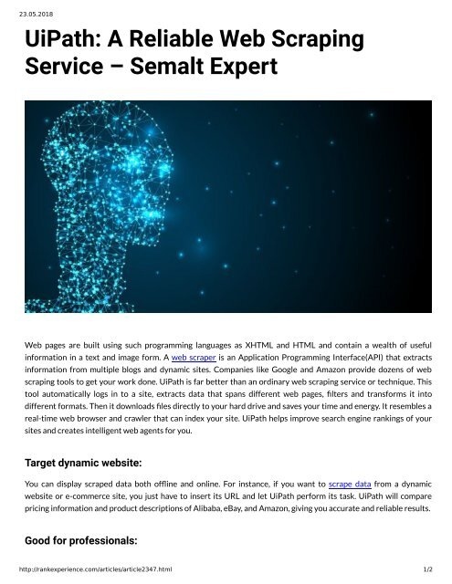UiPath: A Reliable Web Scraping Service – Semalt Expert