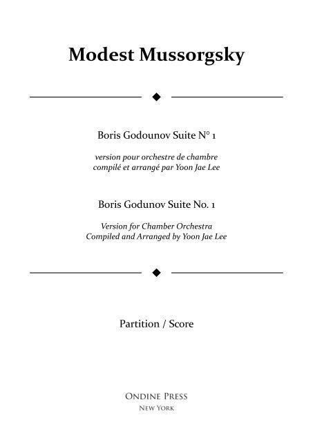 Mussorgsky (arr. Lee): Boris Godunov Suite No. 1 for Chamber Orchestra