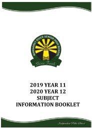 2019 Upperschool Selection Booklet