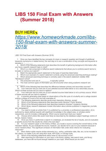 LIBS 150 Final Exam with Answers (Summer 2018)