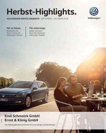 Volkswagen Service Angebote September / Oktober 2018