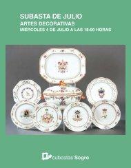 Catálogo Artes Decorativas. Subasta Julio 2018