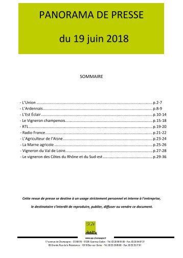 Panorama de presse quotidien du 19-06-2018