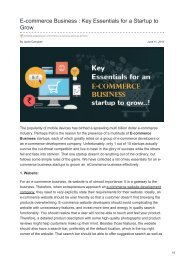 E-commerce Business  Key Essentials for a Startup to Grow