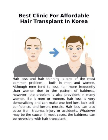 Best Clinic For Affordable Hair Transplant In Korea