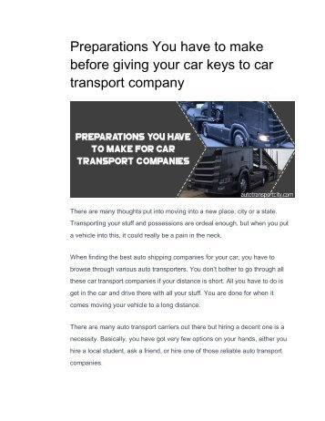 Preparations You have to make before giving your car keys to car transport company