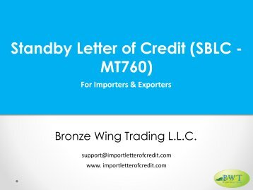 Standby Letter of Credit - SBLC