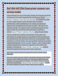 Dial 1-844-443-2544 Canon printer customer care services number