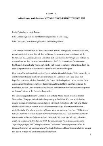 Laudatio - Fachbereich Evangelische Theologie - Universität Hamburg