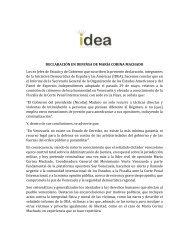 Declaración del Grupo IDEA denunciando la persecución del presidente Nicolás Maduro a la líder política María Corina Machado