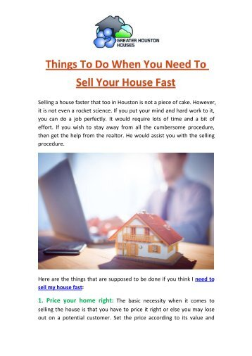 Things To Do When You Need To Sell Your House Fast