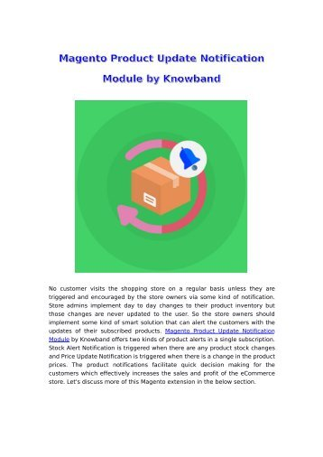 Magento Product Update Notification Extension by Knowband