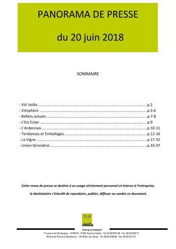 Panorama de presse quotidien du 20-06-2018