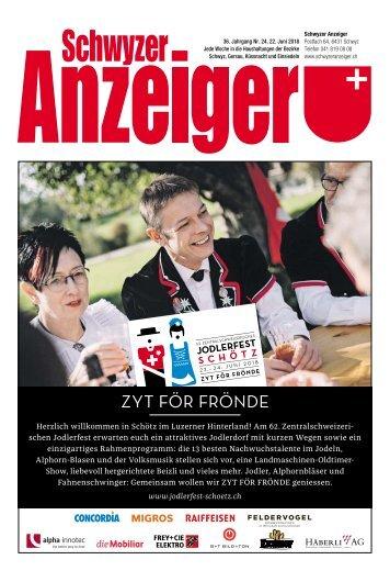 Schwyzer Anzeiger – Woche 25 – 22. Juni 2018