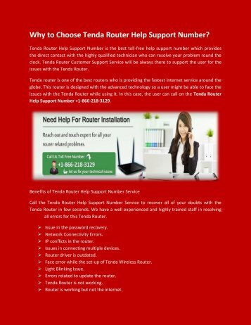 Get 1-866-218-3129 Tenda Router Tech Support Number