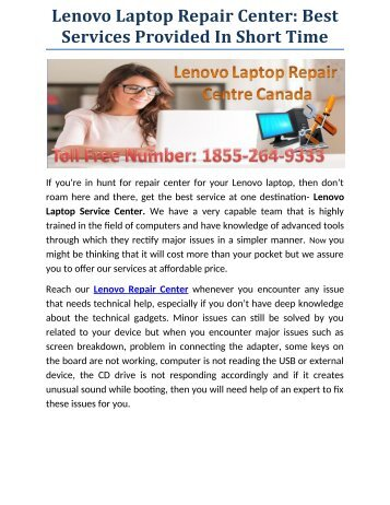 Lenovo Laptop Repair Centre Best Services Provided In Short Time