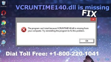 Fix Windows vcruntime140.dll Missing Error 1-800-220-1041 Call