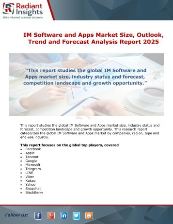 IM Software and Apps Market Size, Trends, Growth and Forecasts Analysis Report till 2025