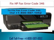 How to Fix HP Fax Error Code 346 Dial 1-800-597-1052?