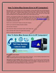 How To Solve Blue Screen Error In HP Computers