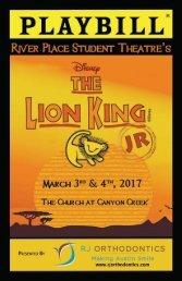 2016 - 2017 Lion King Jr Playbill