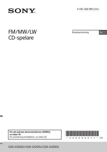 Sony CDX-G1200U - CDX-G1200U Consignes d'utilisation Suédois