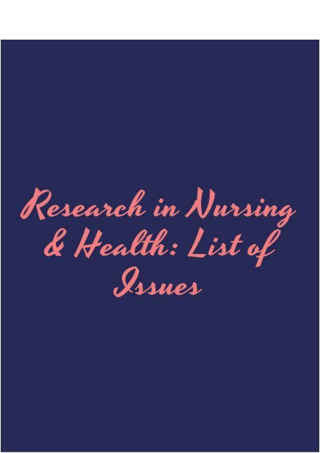 Research in Nursing & Health: List of Issues