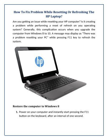 How To Fix Problem While Resetting Or Refreshing The HP Laptop