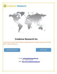 Tumor Necrosis Factor (TNF) Inhibitors Market Expected To Reach US$ 181,139.7 Mn By 2026 – Credence Research