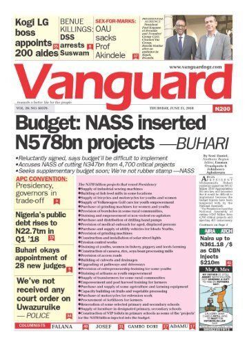 21062018 - Budget: NASS insterted N578bn projects - BUHARI