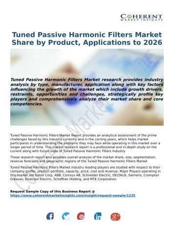 Tuned Passive Harmonic Filters Market Share by Product, Applications to 2026