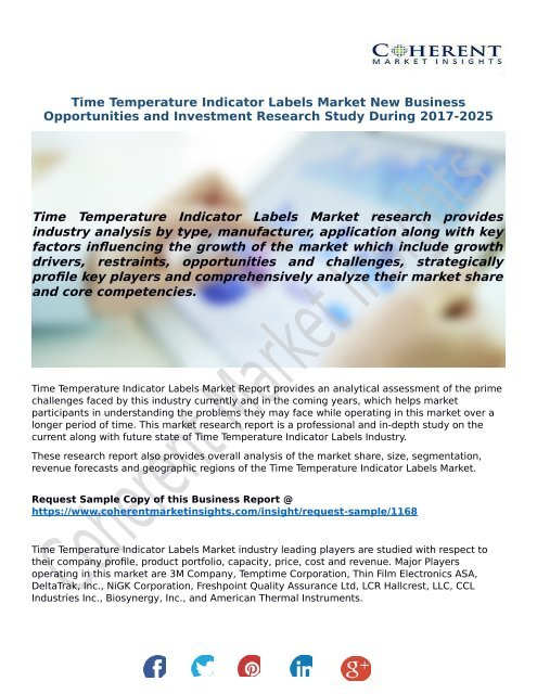 Time Temperature Indicator Labels Market New Business Opportunities