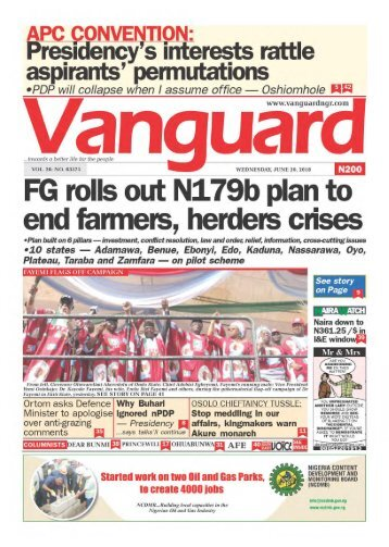 20062018 - FG rolls out N179b plan to end farmers, herders crises