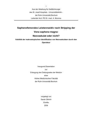 Saphenofemorales Leistenrezidiv nach Stripping der Vena saphena ...