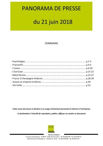 Panorama de presse quotidien du 21-06-2018