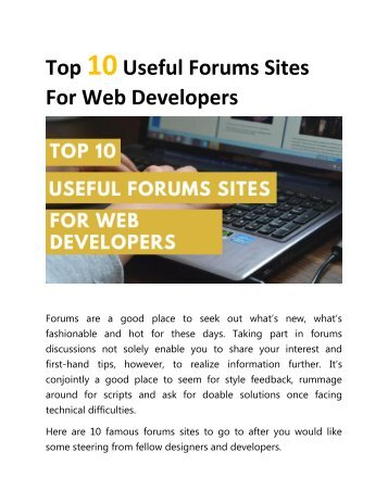 Top 10 Useful Forums Sites For Web Developers
