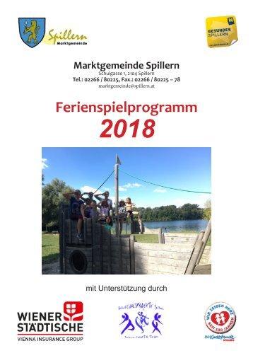 Ferienspiele Programm 2018 - Gesunde Gemeinde Spillern
