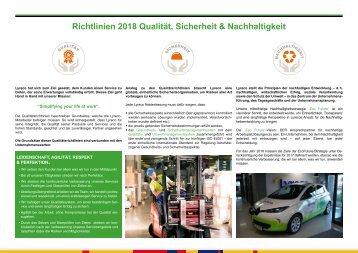 Richtlinien 2018 - Qualität, Sicherheit & Nachhaltigkeit